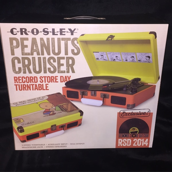 New Crosley Peanuts Cruiser Gang 3-speed Portable Turntable Record Player  Features three speed turntable, auxiliary input, RCA output, headphone  jack,