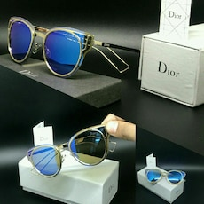 silver framed Dior sunglasses with box