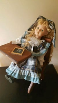 Porcelain doll school girl at desk Centreville, 20120