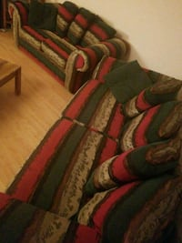 green, red, and brown fabric sofa 589 mi