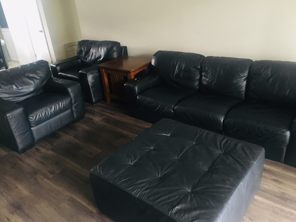 Black leather living room couch set