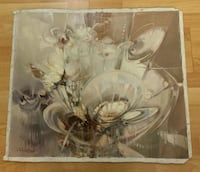 white and brown floral glass vase Burbank, 91505