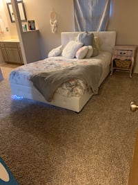 White Faux leather upholstered bed