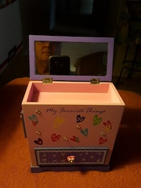 pink and purple wooden box