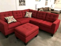 Hot!! 4 Pcs Carmine Sectional w/Ottoman •$5 Down