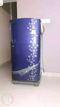 blue and white floral fridge