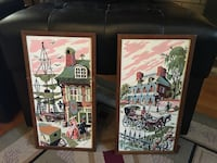Brown wooden framed house and carriage painting