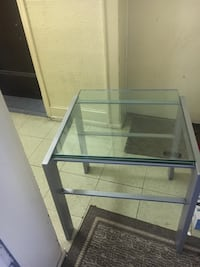 black metal framed glass top table Jersey City
