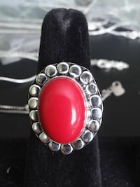 925 Red Coral Ring SIZE 9