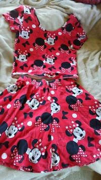 Disney Minnie Mouse crew-neck tops and mini skirt Paw Paw, 49079