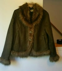 Green and brown fur coat
