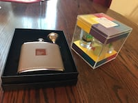 stainless steel flask, 6 oz, with gift box and funnel AND got liquor? shot glass and drinking game set. Mableton, 30126
