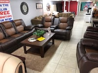 brown leather sofa set with coffee table Houston, 77079