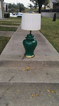 green ceramic vase table lamp with white lampshade Dallas, 75238