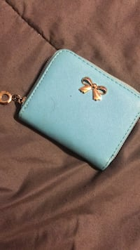 Mini Light Blue Wallet with coin pouch and 4 pockets inside Temple, 76513