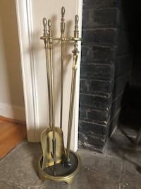 Solid brass vintage fireplace andirons and tool set. Kensington, 20895
