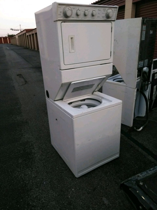 white stackable washer and dryer