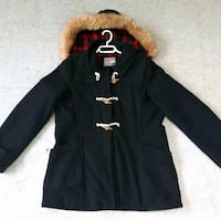 Warehouse Black Wool Duffle Coat  Delta, V4C 5N2