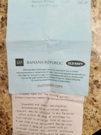 Gift Certificate to Banana Republic, Gap or Vancouver, V5W 3A2
