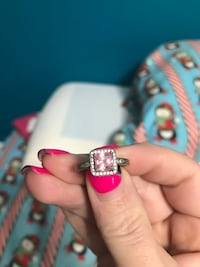 silver-colored with pink and white crystal studded ring Regina, S4N 3B3