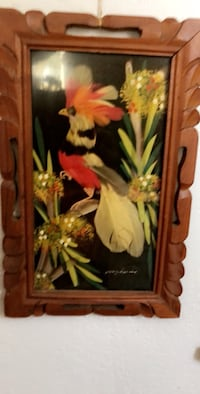 Real feathers on a wall art made in Mexico in 1956 size 7x11 inches. Selling as a set Los Angeles, 90029