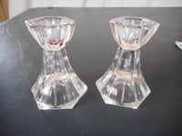 Set of Towle Full Lead Crystal Candle Holders Made in Slovakia + Cut Glass Set Acton