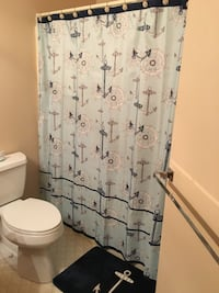 Anchor shower curtain/ liner/hooks/ mat/rug