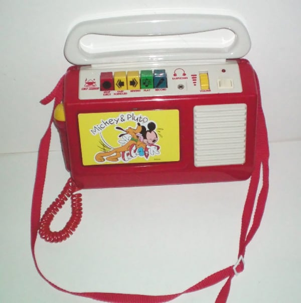 Vintage Mickey Mouse & Pluto Cassette Player Recorder with Microphone 0