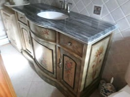 One of a kind Victorian Marble  Bathroom Cabinet
