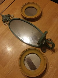 3 peice mirror set with candle holder