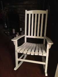 White wooden rocking chair with blue chairpad Mansfield, 44904
