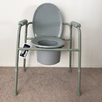 Deluxe all in one welded steel commode
