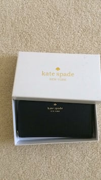 black and white Kate Spade leather wallet with box Belleville, K8P