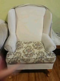 white and brown floral sofa chair
