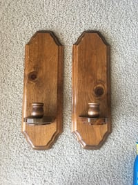 Two brown wooden taper candle sconces Edmond, 73003