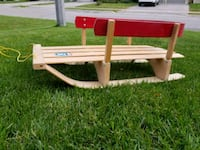 Red metal and wood baby sled Brampton, L7C 0Z7