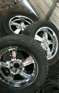 """Only 3 rims n tires 20"""" 6 bolt lugs"""