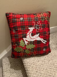 Reindeer white red green with gold tread pillow Wilmot, N3A