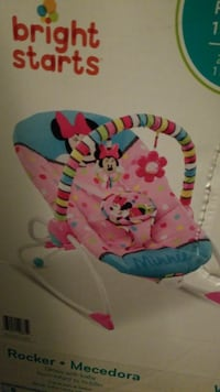 baby's pink and blue Bright Starts Minnie Mouse bouncer box Newport News, 23608