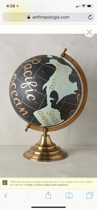 Brass handpainted desk globe Washington, 20007
