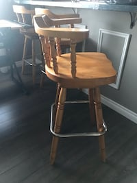 I have three natural wood bar stools asking $75 for all three 30 inch from the seat to the floor. Must sell Moving
