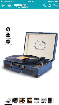 Record Player, LUKER Portable Suitcase Bluetooth turntable