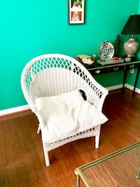 White Rattan Chair with Pillow Lorton, 22079