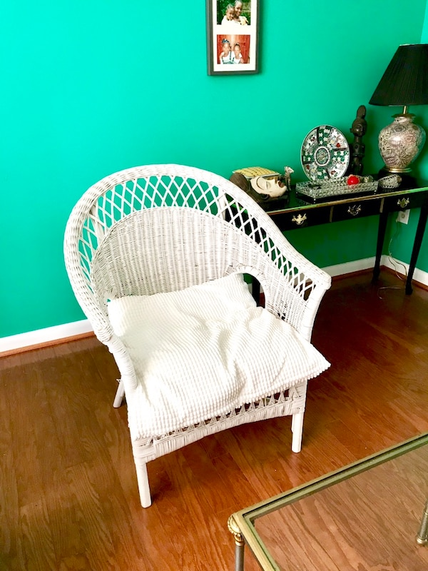 White Rattan Chair with Pillow