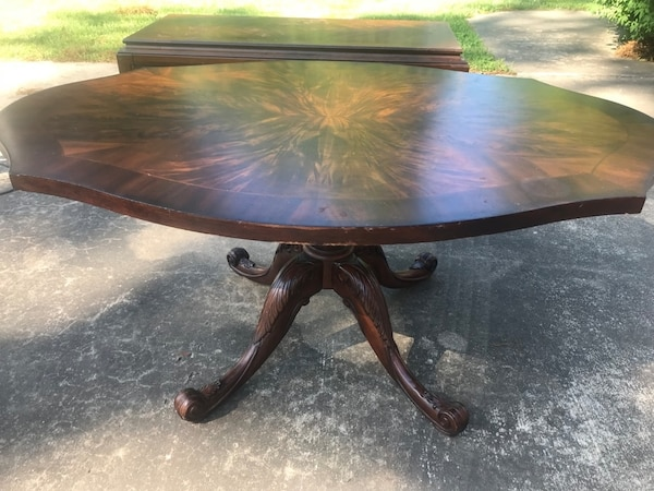 Antique Tiger Wood Coffee Table On Pedestal Base