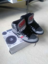black-and-gray Osiris high-top lace-up sneakers wi Pearland