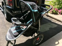 baby's black and blue jogging stroller Mississauga, L5N 5W3