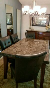 Oak table with marble inlay  Sebring, 33872