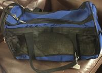 blue and black travel pet bag