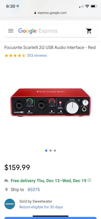 Gently used Focusrite Scarlett 2i2 USB Audio Interface - Red Nashville, 37203